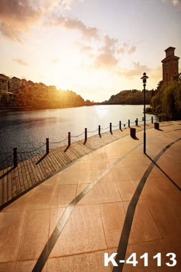 Lakeside Sunset Bell Tower Building Backdrops Vinyl Photography Background