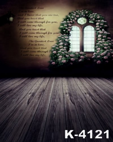 Retro Plank Floor Flowers around Window Vinyl Wedding Photo Backdrops