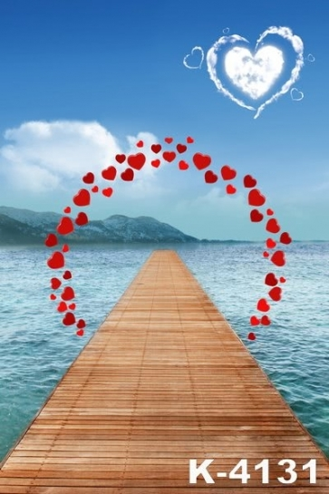 Love Shape Clouds Seawater Wooden Bridge Wedding Backdrops