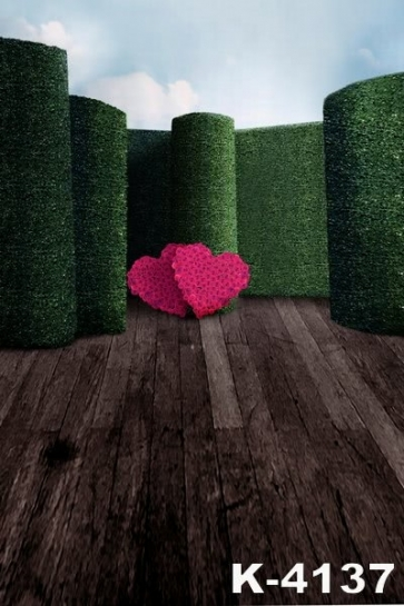 Plank Floor Green Background Heart Shaped Flowers Wedding Vinyl Photography Backdrops