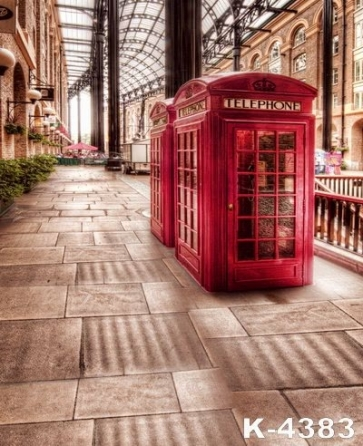 Telephone Booths in Street Studio Background Vinyl Photography Backdrops