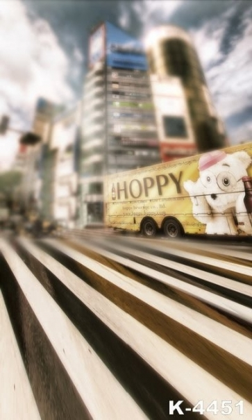 Vague Streetscape Zebra Crossing Building Studio Background Vinyl Photography Backdrops