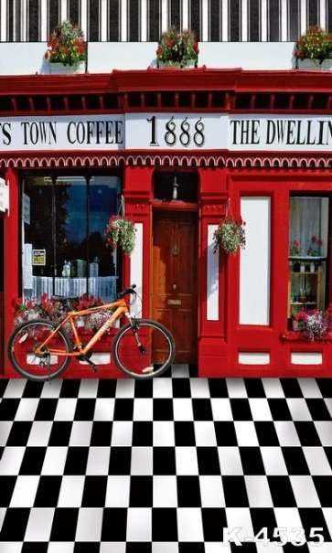 Scenic Outside Coffee Shop Studio Background Vinyl Photography Backdrops