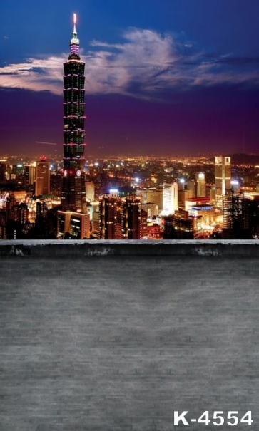 Overlooking City Nightscape Building Scenic Backdrops Studio Background Vinyl Photography Backdrops