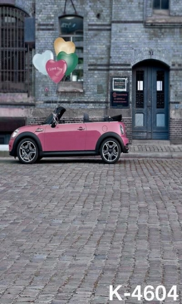 Grey Brick House Pink Car Building Scenic Backdrops Studio Background Vinyl Photography Backdrops
