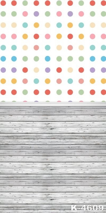 Colorful Polka Dots Wood Block Joint Personalized Backdrop Vinyl Backdrops