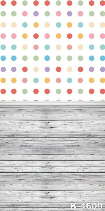Colorful Polka Dots Wood Block Joint Personalized Backdrop Vinyl Backdrops