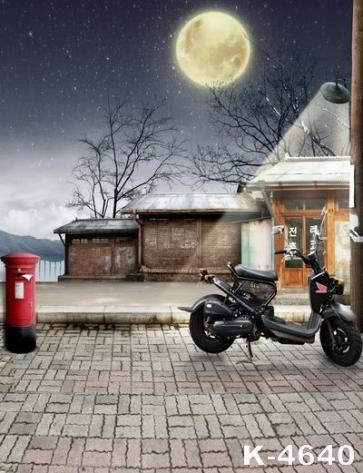 Bright Moonlight Street Lamp Light Building Scenic Backdrops Studio Background Vinyl Photography Backdrops