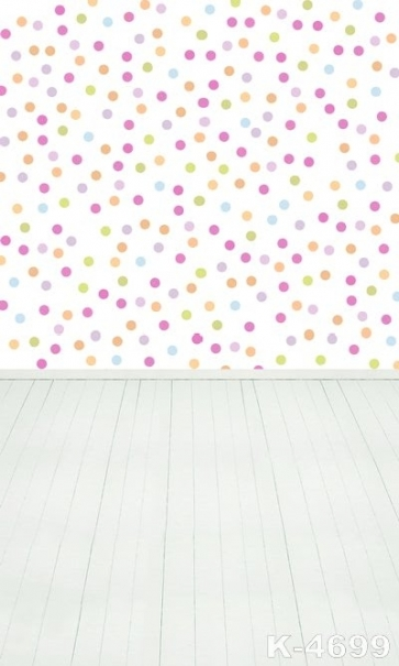 Multicolor Polka Dots Plank Floor Personalized Vinyl Photography Backdrop