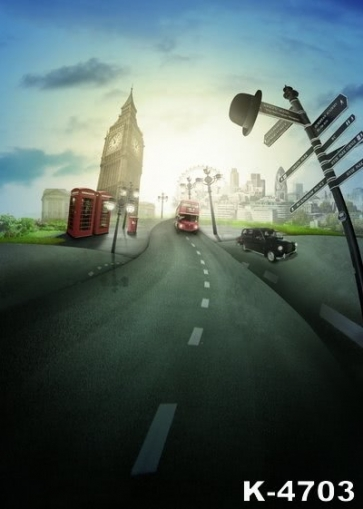 Cartoon City Street Cars Bell Tower Building Scenic Backdrops Studio Background Vinyl Photography Backdrops