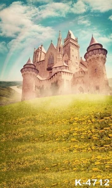 Old Castle Building Flower Backdrop Scenic Backdrops Studio Background Vinyl Photography Backdrops