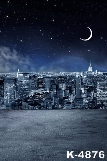 City under the Moonlight Building Scenic Backdrops Vinyl Photography Portable Backdrops