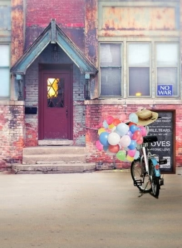 Old House Bicycle Balloons Building Backdrops Vinyl Photography Backdrops