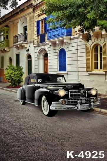 Residential House Black Sedan Car Building Backdrops Vinyl Photography Backdrops