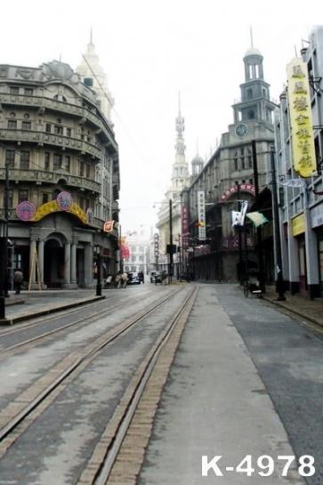 Old Shanghai Street Building Vinyl Photography Backdrops