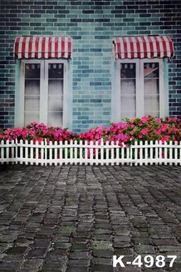 Flower Nursery outside House Building Vinyl Photography Backdrops