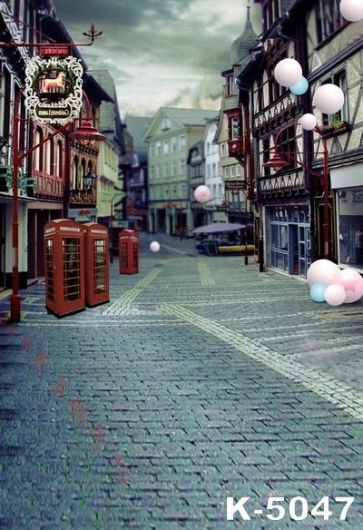 Retro Architecture City Street Building Vinyl Photo Backdrops