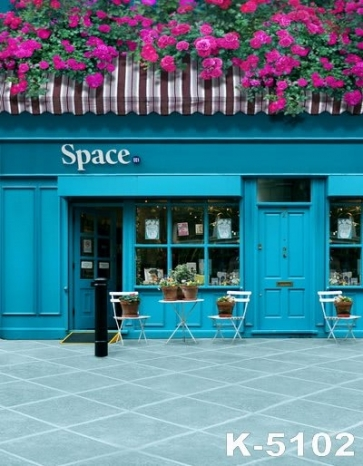 Blue Store with Flowers Building Vinyl Photography Backdrops