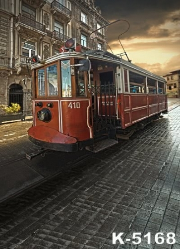 Retro Last Century Tram Building Vinyl Photography Backdrops