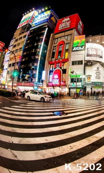 Night City Zebra Crossing Building Photography Studio Background