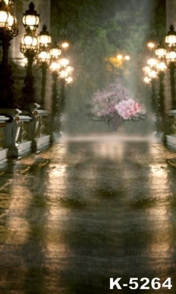 Aesthetical Night Street Lamp Light Flowers Backdrop Scenic Backdrops