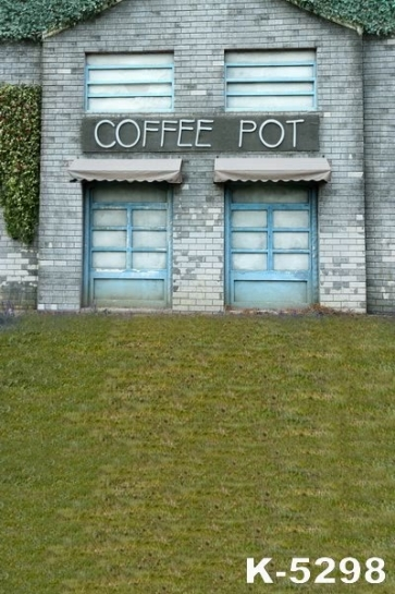 Grey Brick House Coffee Pot Building Vinyl Photography Backdrops