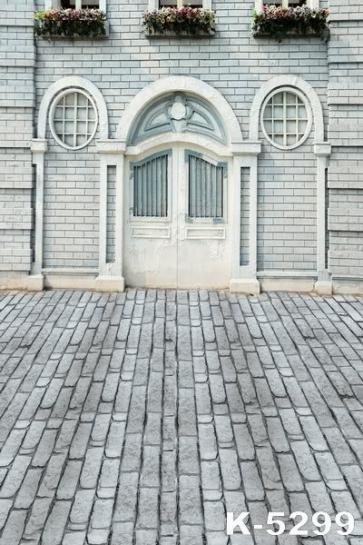 Grey Brick House Street Building Studio Background Vinyl Backdrops