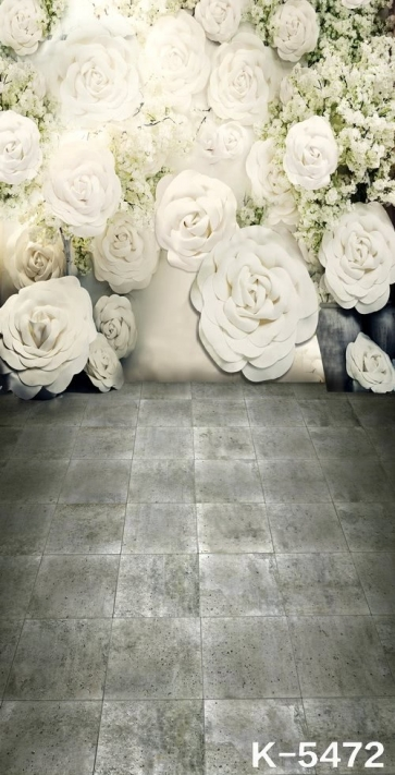 Romantic Large White Flowers Wedding Photography Backdrops