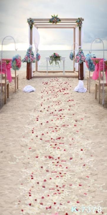 Romantic Seaside Beach Wedding Scenic Photo Drop Background