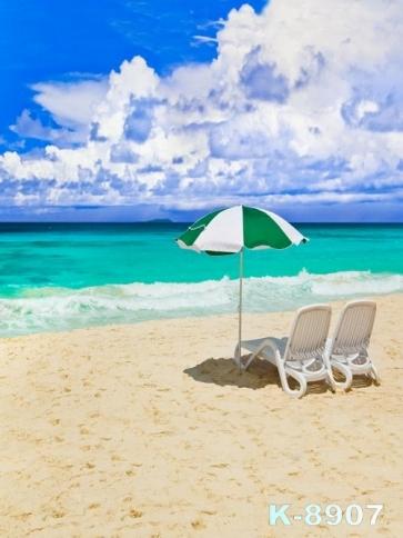 Bluish Green Sea White Clouds Seaside Beach Drop Studios Backdrops
