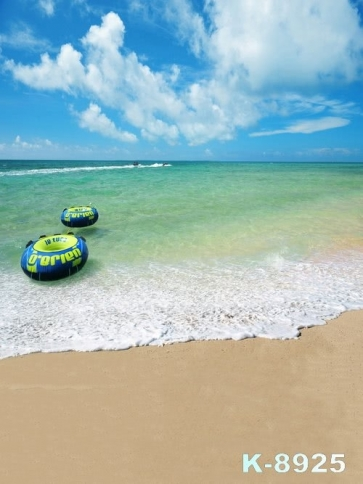 Scenic Life Buoy Bluish Green Sea Water Beach Pro Photo Backdrops