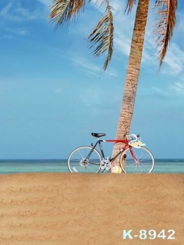 Bicycle by Coconut Tree Seaside Beach Photo Backdrops