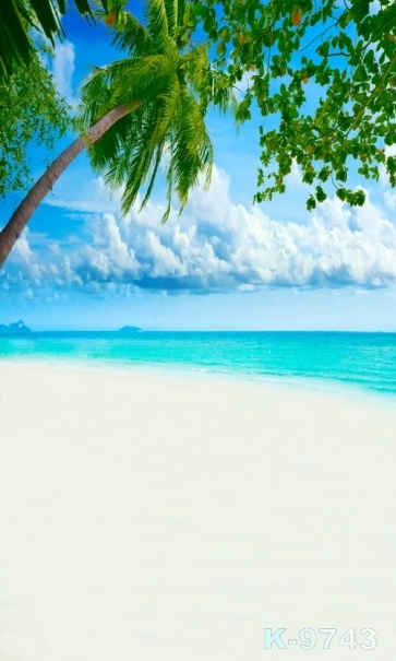 Scenic Green Trees Blue Sea Beach Photography Background Props