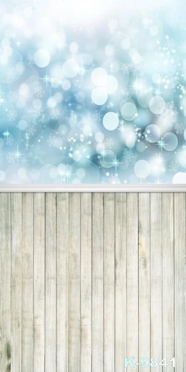 Wooden Floor Bubble Snowflake Combination Vinyl Photography Backdrops