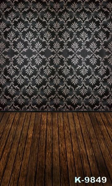 Flower Wallpaper Wooden Wall Floor Photography Background Vinyl Backdrops