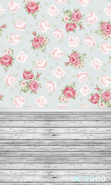 Flower Background Wall Wooden Floor Vinyl Photography Stage Backdrop