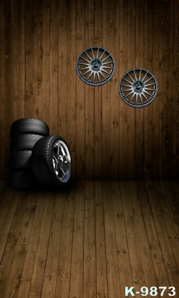 Car Tire Wooden Floor Wall Combination Vinyl Photography Studio Backdrop