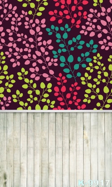 Multicolor Leaves Wine Red Background Plank Floor Personalized Backdrop