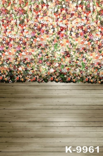 Colorful Flowers Wood Floor Wedding Professional Photography Backdrops