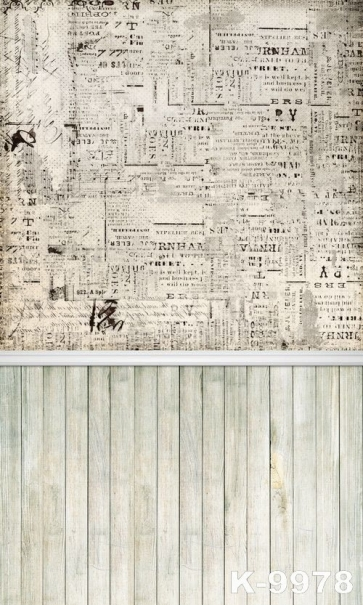 Vintage Newspaper Wall Background Wooden Floor Combination Studio Backdrop