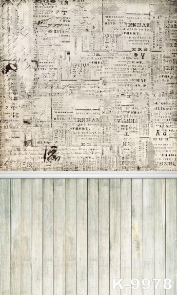Vintage Newspaper Wall Background Wooden Floor Combination Studio Backdrop