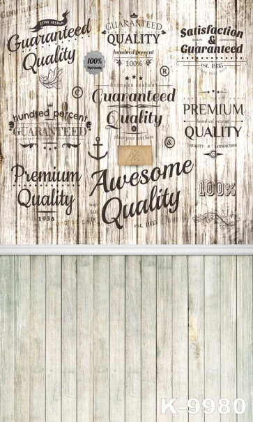 Various Word Tags Wooden Floor Wall Vinyl Stage Backdrop For Photography