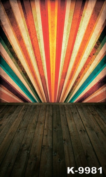 Colorful Wall Wooden Floor Combination Vinyl Photography Background