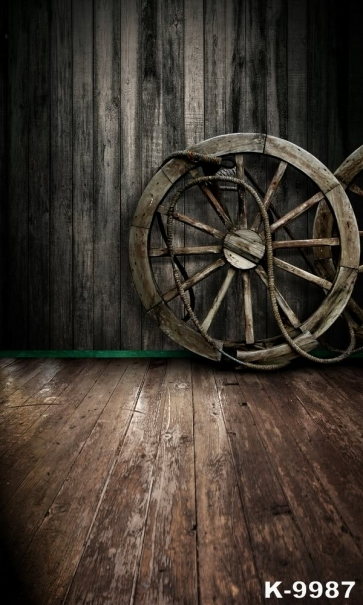Vintage Wood Wheels Floor Wall Vinyl Background Stage Backdrop