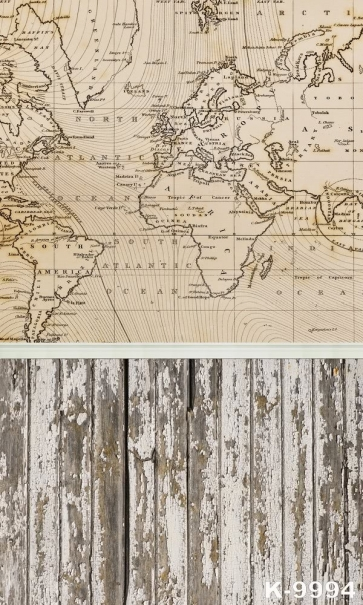 World Map Wall Background Wooden Floor Combination Custom Backdrops