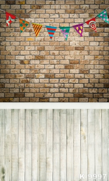 Brick Wall Wooden Floor Small Flags Combination Vinyl Attractive Backdrop