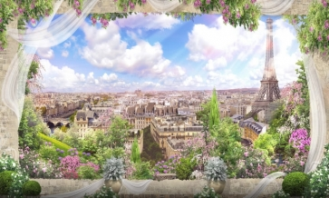 Dreamlike City Landscape Wedding Backdrop Studio Stage Photography Background Prop