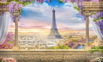 Beautiful City Landscape Iron Tower Picture Scenic Stage Backdrops