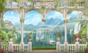 Retro Roman Columns Swans in Blue Lake Scenic Picture Stage Backdrops