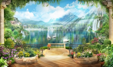 Dreamy Beautiful Lake Swans Scenic Photo Paint Large Stage Theatreworld Backgrounds